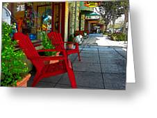 Chairs On A Sidewalk Greeting Card by James Eddy
