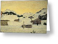 Chalets In Snow Greeting Card by Giovanni Segantini