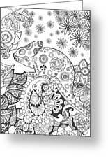 Chameleon In Fantasy Forest. Animals Greeting Card