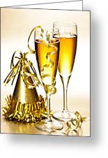 Champagne And New Years Party Decorations Greeting Card