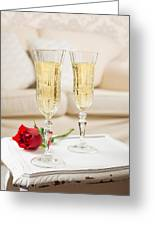 Champagne And Rose Greeting Card