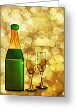 Champagne Bottle And Two Glass Flutes Greeting Card