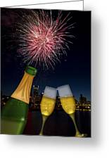Champagne Toast With Portland Oregon Skyline Greeting Card by JPLDesigns