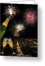 Champagne Toast With San Francisco Skyline At Night Greeting Card