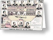 Champion Pugilists 1885 Greeting Card by Padre Art