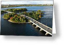 Champlain Bridge Aerial Panorama Greeting Card by Rob Huntley