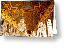 Chandeliers And Ceiling Of Versailles Greeting Card
