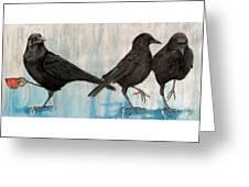 Crow Takes Tea Greeting Card