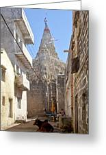 Changing Of The Flag On Krishna Temple Dwarka Greeting Card