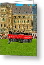 Changing Of The Guard In Front Of The Parliament Building In Ottawa-on Greeting Card