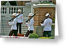 Changing Of The Guard Near Reception Hall At Grand Palace Of Thailand In Bangkok Greeting Card