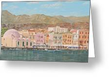 Chania Harbour Early Summer Morning Greeting Card