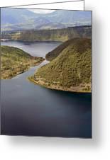 Channel In Lake Cuicocha Greeting Card