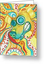 Chaotic Canine Greeting Card by Shawna Rowe