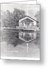 Chapel On A Lake Pencil Portrait Greeting Card