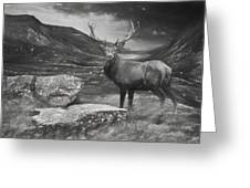 Charcoal Drawing Image Red Deer Stag In Moody Dramatic Mountain Sunset Landscape Greeting Card