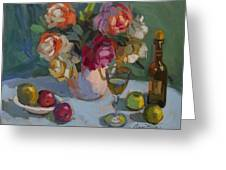 Chardonnay And Roses Greeting Card
