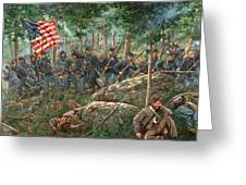 Charge Of The 20th Maine - Joshua L. Chamberlain Leading The 20th Maine Regiment On Little Round Top Greeting Card