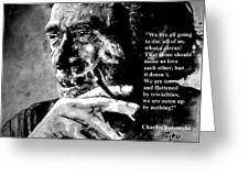 Charles Bukowski Greeting Card by Richard Tito