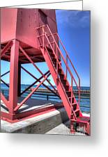 Charlevoix Lighthouse Steps Greeting Card