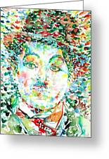 Charlie Chaplin - Watercolor Portrait Greeting Card