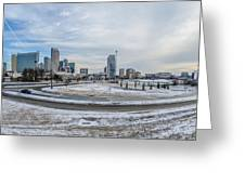 Charlotte North Carolina Skyline In Winter Greeting Card
