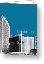 Charlotte Skyline 1 - Steel Greeting Card by DB Artist