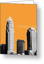 Charlotte Skyline 2 - Orange Greeting Card by DB Artist