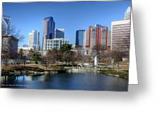 Charlotte Skyline From Marshall Park Greeting Card