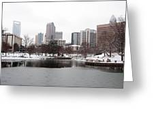 Charlotte Skyline In Snow Greeting Card