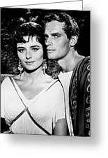 Charlton Heston And Marina Berti Greeting Card