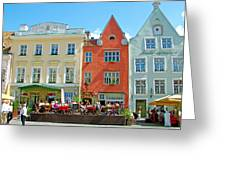 Charming Town Square In Old Town Tallinn-estonia Greeting Card