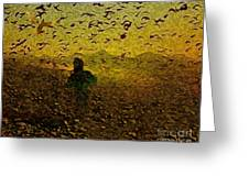 Chasing Birds In The Mist Greeting Card