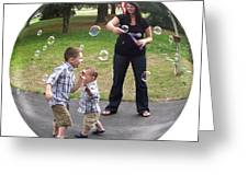 Chasing Bubbles Greeting Card