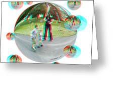Chasing Bubbles - Red/cyan Filtered 3d Glasses Required Greeting Card