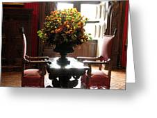 Chateau De Chenonceau Flowers And Chairs Greeting Card
