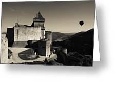 Chateau De Castelnaud With Hot Air Greeting Card
