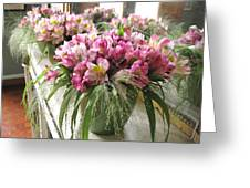 Chateau De Chenonceau Flowers On Mantle Greeting Card
