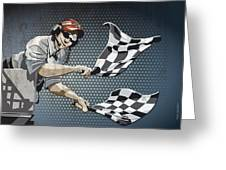 Checkered Flag Grunge Color Greeting Card by Frank Ramspott