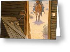 Checking The Line Cabin Greeting Card by Paul Krapf