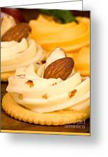Cheddar Cheese On Crackers With Almonds Greeting Card
