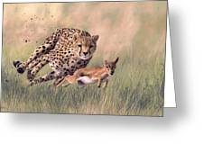 Cheetah And Gazelle Painting Greeting Card