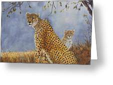 Cheetah With Cub Greeting Card