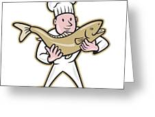 Chef Cook Handling Salmon Fish Standing Greeting Card