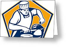 Chef Cook Slicing Ham Retro Greeting Card