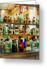 Chemistry - Bottles Of Chemicals Green And Brown Greeting Card