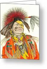Cherokee In Orange Greeting Card by Lew Davis