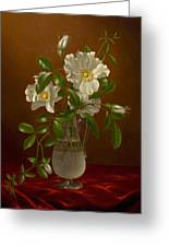 Cherokee Roses In A Glass Vase C1883-1888 Greeting Card