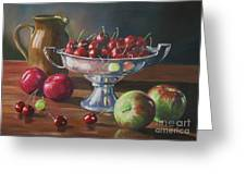 Cherries In Silver Bowl Greeting Card