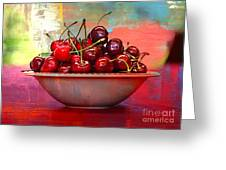 Cherries On The Table With Textures Greeting Card